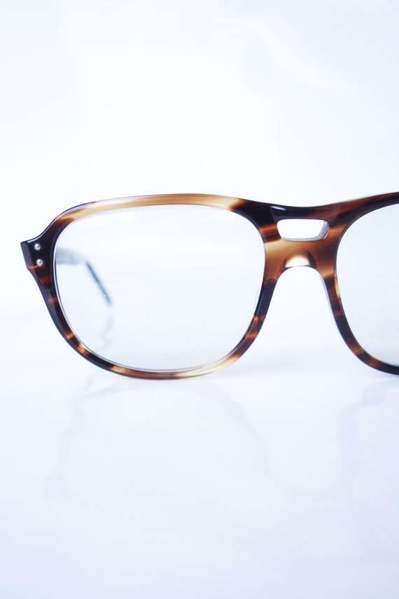 American Optical Sunjet Mens Aviator Glasses – Mens 1970s American Optical Sunglasses – Dark Amber Tortoiseshell Avaitor Optical Frames