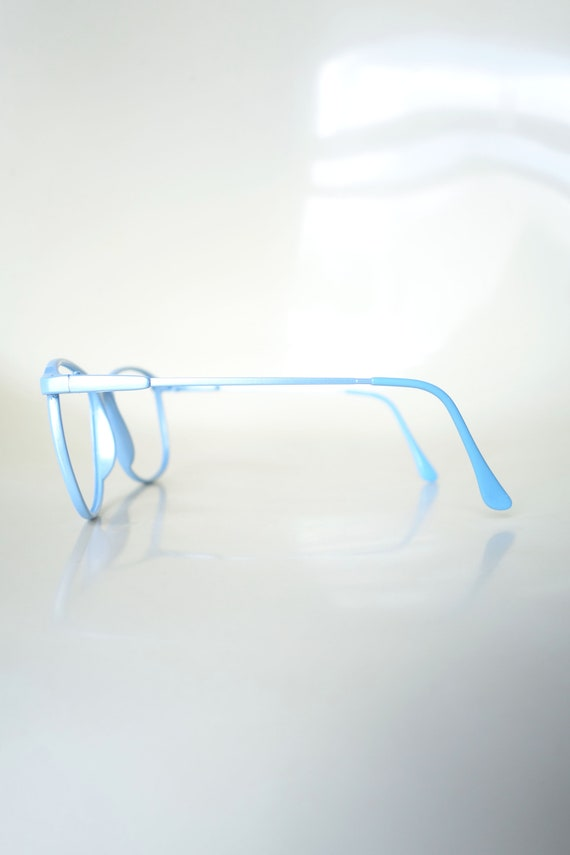 Vintage 1980s Round Blue Glasses - Light Ice Blue… - image 4