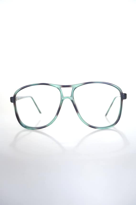 1980s Green and Black Aviator Glasses - Mens Retro