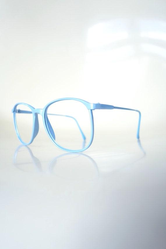 Vintage 1980s Round Blue Glasses - Light Ice Blue… - image 3