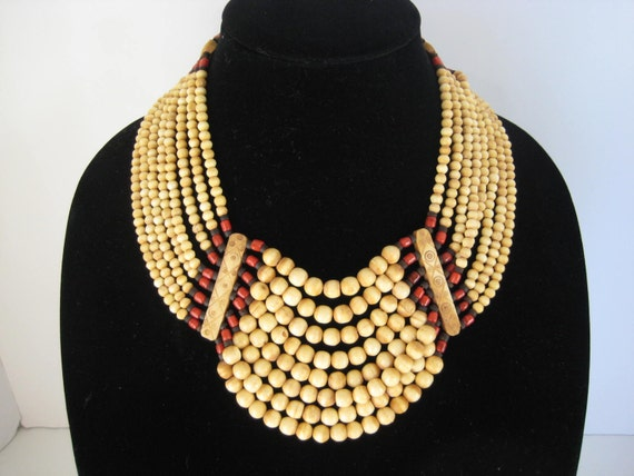 Vintage Large Tribal Bib Necklace  Elk Horn Red Glass Black Wood Beads  Bold Statement Jewelry