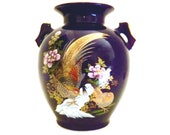 Japanese Cobalt Blue and Gold Double Peacock Design Vase with Handles