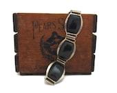 Bakelite Silverplate Link Bracelet, Vintage Tested Bakelite Bracelet, 39 40s Silverplate Bracelet with Black Bakelite Cabochons