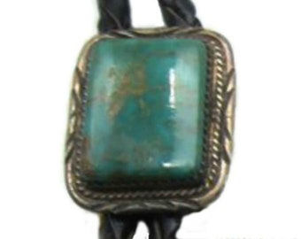 Navajo Style Slide Vintage Native American Western Wear Royston Turquoise Bolo Tie Hand Crafted Sterling Silver Rope w Sun Rays Border