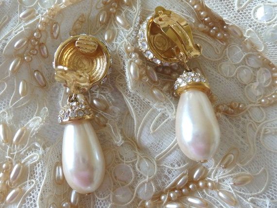 St John Pavé Rhinestone/Pearl Pendant Earrings, V… - image 6