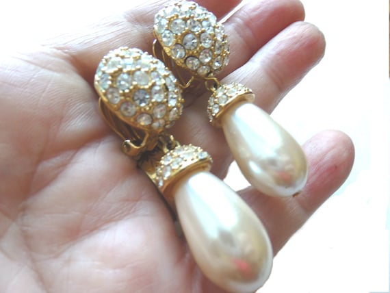 St John Pavé Rhinestone/Pearl Pendant Earrings, V… - image 3