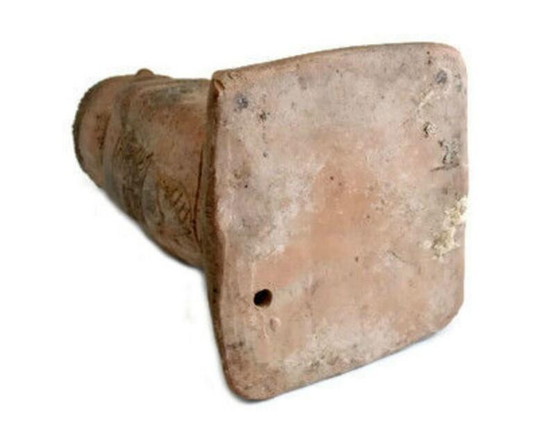 Vintage Terracotta Toltec Warrior Statue Pre-Columbian Style Clay Statue Mexican Pottery Replica Figurine