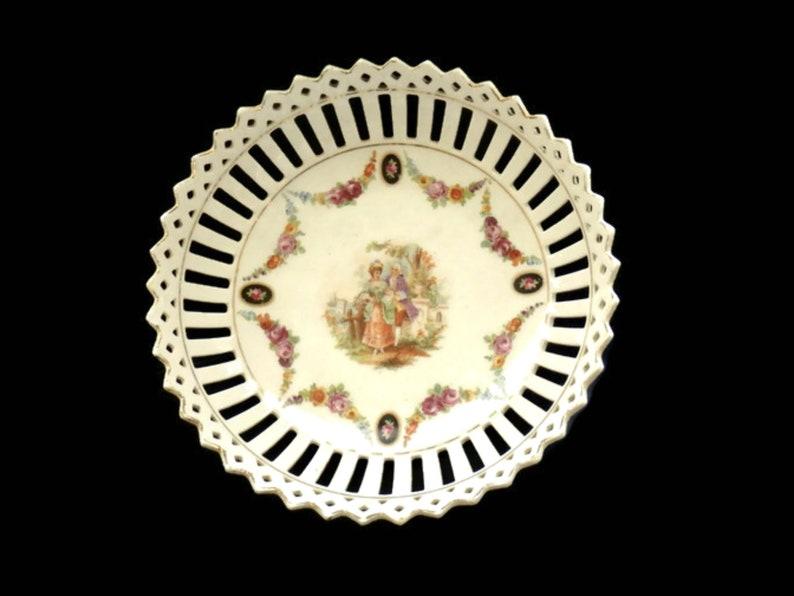 German Porcelain Lattice Dish 19c Reticulated Portrait Dish Possibly Meissen Dresden