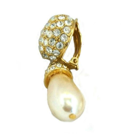 St John Pavé Rhinestone/Pearl Pendant Earrings, V… - image 7