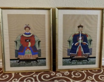 Vintage Pair Colorful Chinese Ancestor Portraits