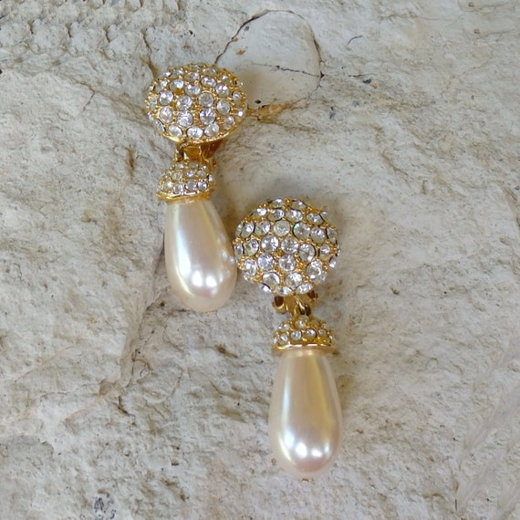 St John Pavé Rhinestone/Pearl Pendant Earrings, V… - image 1