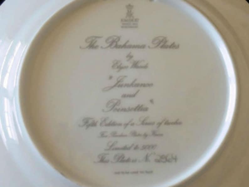 Signed Vintage Elyse Wasile Junkanoo and Poinsettias Bahamas Plate No Box Dated 1986