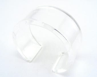 Clear Perspex Bangle - Transparent acrylic cuff - Plexiglass Bangle - Clear Perspex Bracelet - polished and frosted Perspex - chunky bangle