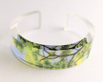 Green Perspex Bangle Leaf Tree Branch and Sky image