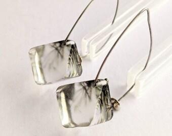 Clear Perspex Acrylic Earrings, Branch Pattern Diamond Shape