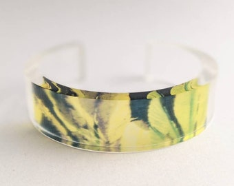 Leaves bangle, Lime green black Perspex bangle, Contemporary Jewellery