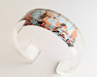 Lucite Clear Bangle Autumn leaves design jewellery