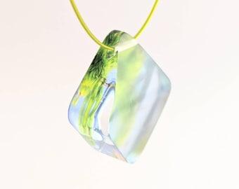 Green Plexiglass necklace, Diamond shape pendant with floral photograph.