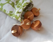 Collection of Wooden Spinning Tops, Cotton Bag With 10 Mini Spinning Tops Wood Toys
