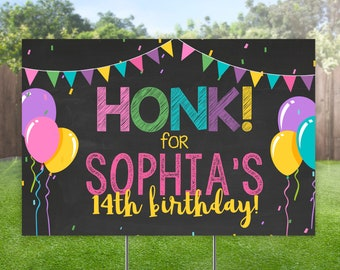 Birthday Yard Sign for Girls, Honk Birthday Lawn Sign, Colorful Outdoor Banner, Outdoor Balloon Yard Sign, Honk Personalized Bday Party Sign