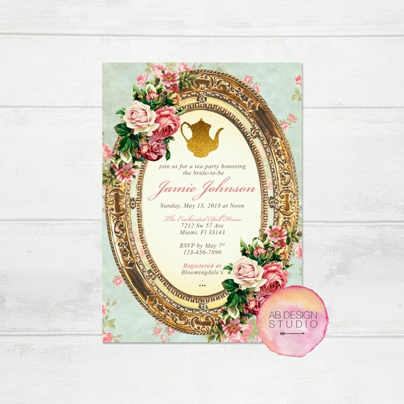 Bridal shower invitation vintage tea party invite high tea baby il570xn filmwisefo