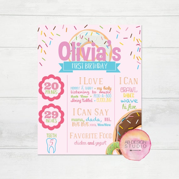 First Birthday Sign Donut Grow Up Themed Sign For Baby Girl Etsy