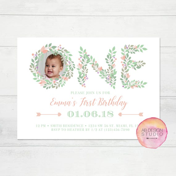 Floral First Birthday Invitation - Girls 1st Birthday Invitation - Garden Party Invitation - 1st Birthday Invitation - Flower Invitation