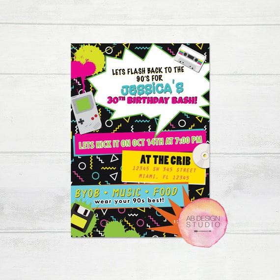 90s Invitation 90s Party Invitation 80s Party Invitation 90s