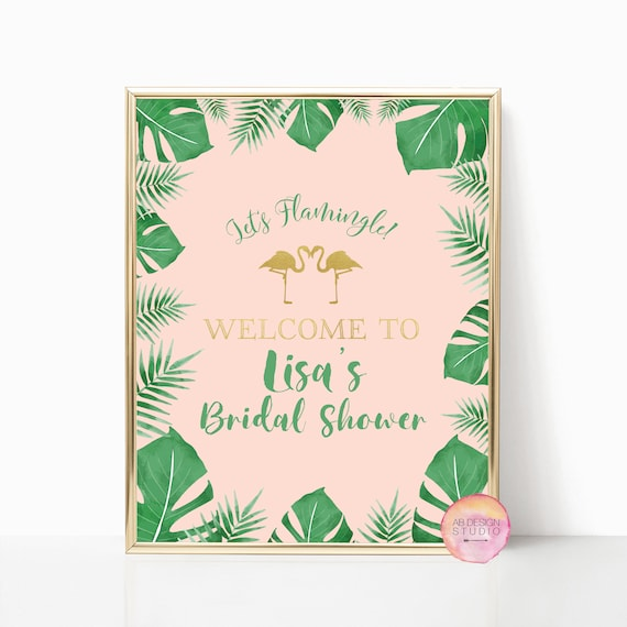tropical bridal shower welcome sign welcome sign flamingo