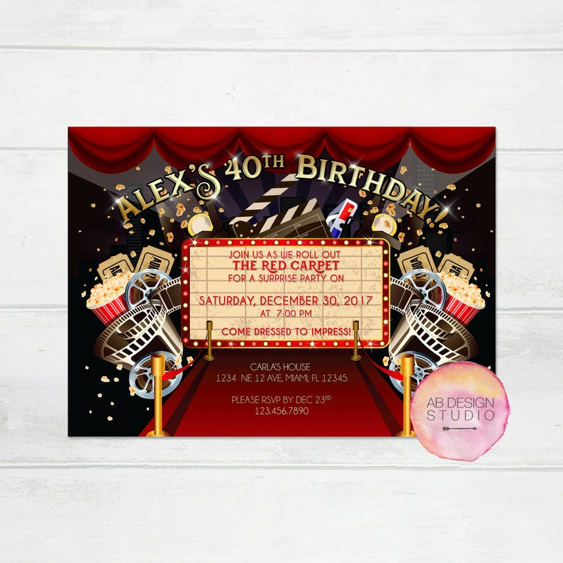 Movie Theme Hollywood Birthday Party Invitation Cinema