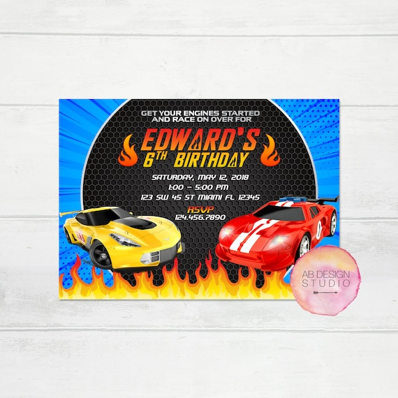 Hot Wheels Invitation Race Car Birthday Invite Hot Wheel Party
