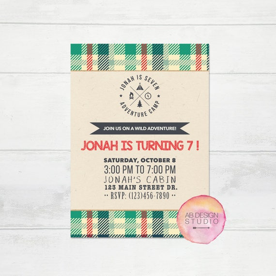 Camping Theme Invitations: Camp Theme Party Invitation