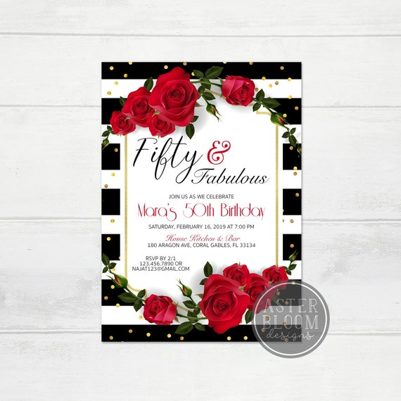 Fifty And Fabulous Invitation 50th Birthday Party Invite Red Roses Black Gold Elegant Fancy