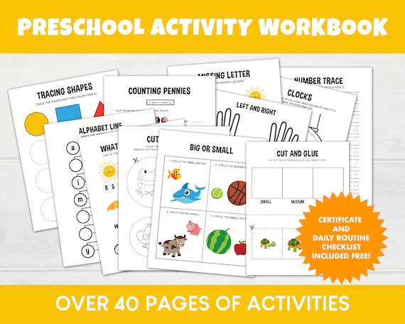 Preschool Workbook Printable, Pre K Homeschool Printables, Toddler  Worksheets, Prek Activity Printable, Learning Counting Shapes Colors By  Aster Bloom Designs Catch My Party
