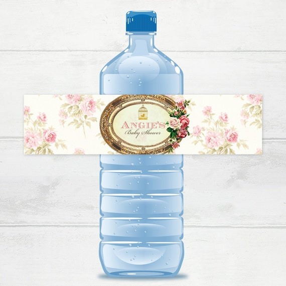 Tea Party Baby Shower Party Labels Digital Bird Cage Water Labels Vintage Baby Shower Water Bottle Labels Tea Party baby shower favors