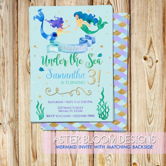 mermaid invitation under the sea party invite little etsy