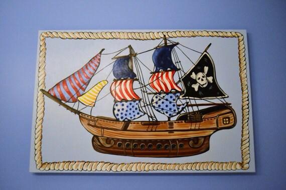 Bateau Pirate A Motifs Voile Tete De Mort Peinture Garcon Etsy