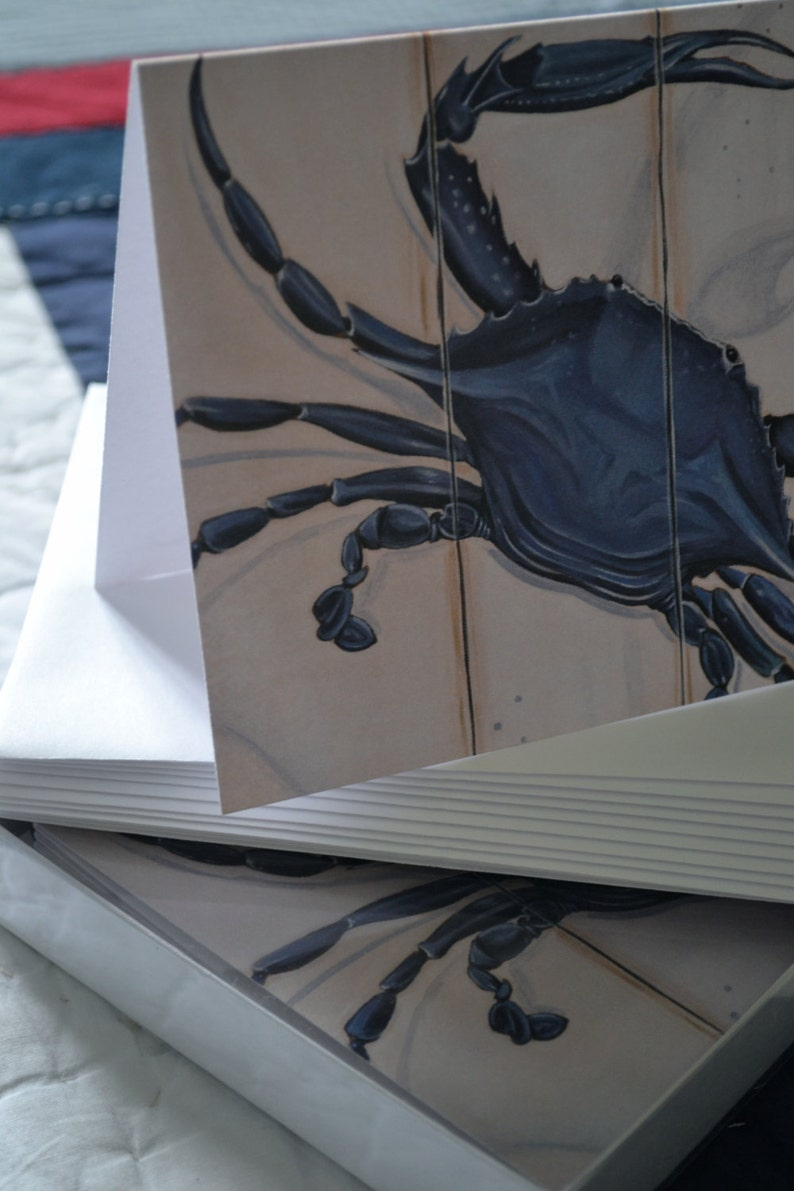 Blue Crab Dozen 5x7 Chesapeake Coastal Crab Virginia Personalization Add on Stationary Set Annapolis Envelopes Maryland Card