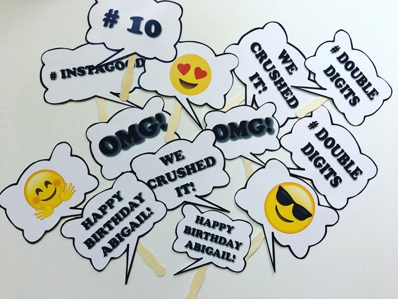 Set of 5 Bubble Word Emoji Sign Paddle Prop Birthday Escape Room Emoji  Party Celebration Wedding Graduation Photo Booth Fan Emoji Hashtags S