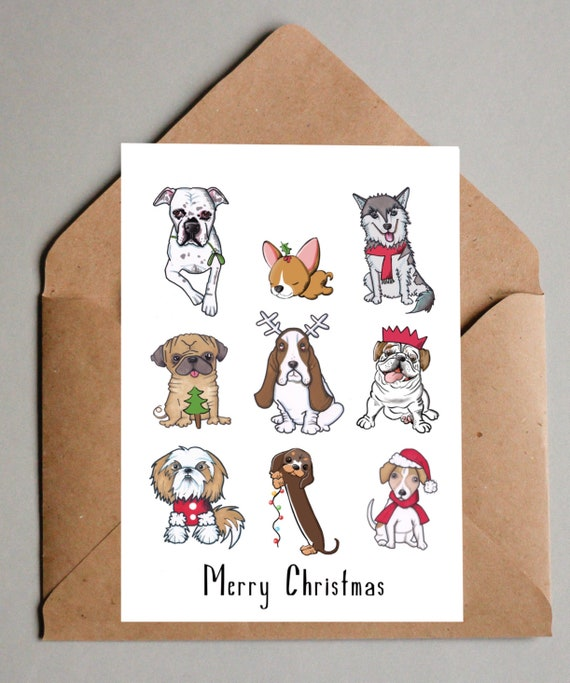Cute Christmas Cards.Dogs Cute Christmas Cards Set Of 5 Happy Christmas