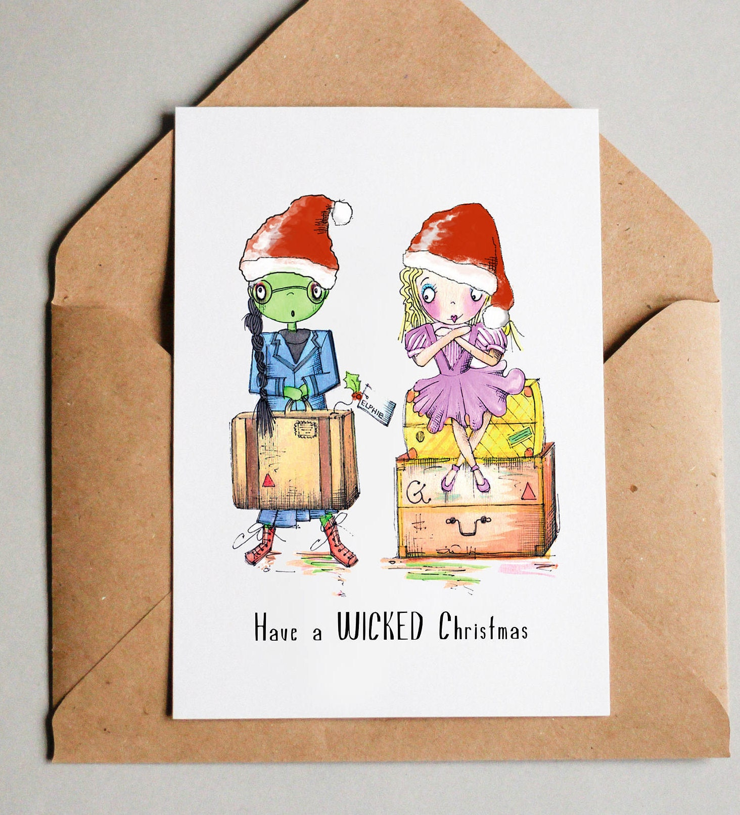Wicked The Musical Christmas Card Elphaba And Glinda Santa Etsy