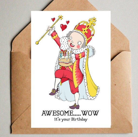 Hamilton Musical Theatre Blank Birthday Card King George Awesome Wow