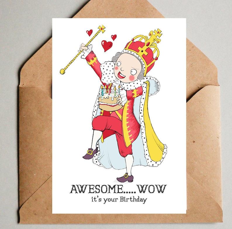 Hamilton Musical Theatre Blank Birthday Card King George