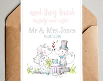 Personalised Happily Ever After Mouse Illustrated Wedding Card