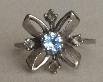 Bowtie Sputnik style spinel ring solid 10k white gold