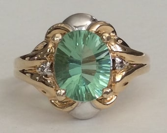 Fluorite and diamond two toned solid 10k gold ring