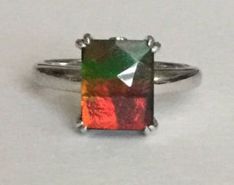 Natural Ammolite triplet ring in solid sterling silver