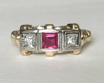 Ruby diamond Art Deco ring 10k gold