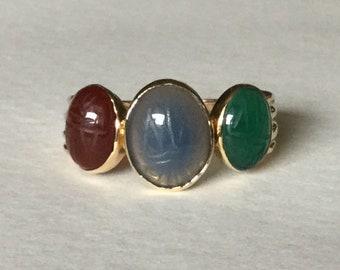 Scarab ring 14k yellow gold band