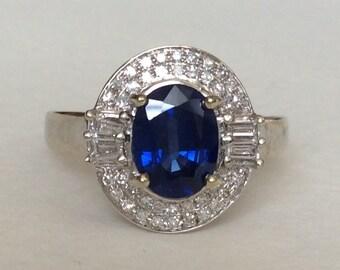 Sapphire and diamond 14k white gold halo ring art deco